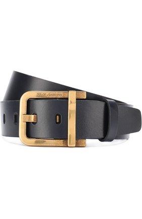 Кожаный ремень с металлической пряжкой Dolce & Gabbana темно-синий | Фото №1