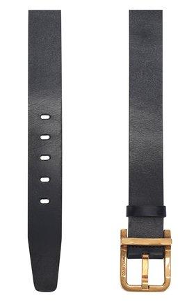 Кожаный ремень с металлической пряжкой Dolce & Gabbana темно-синий | Фото №2