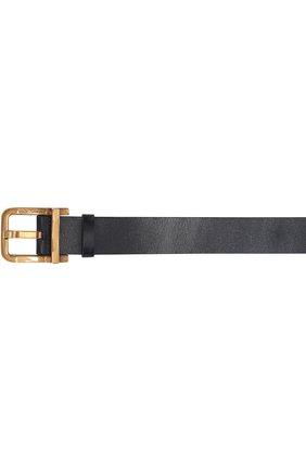 Кожаный ремень с металлической пряжкой Dolce & Gabbana темно-синий | Фото №3