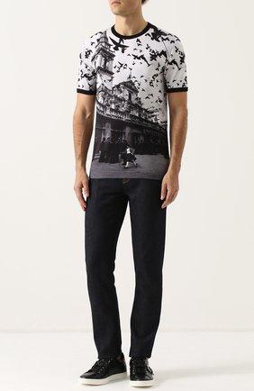 Хлопковая футболка с принтом Dolce & Gabbana черная   Фото №2