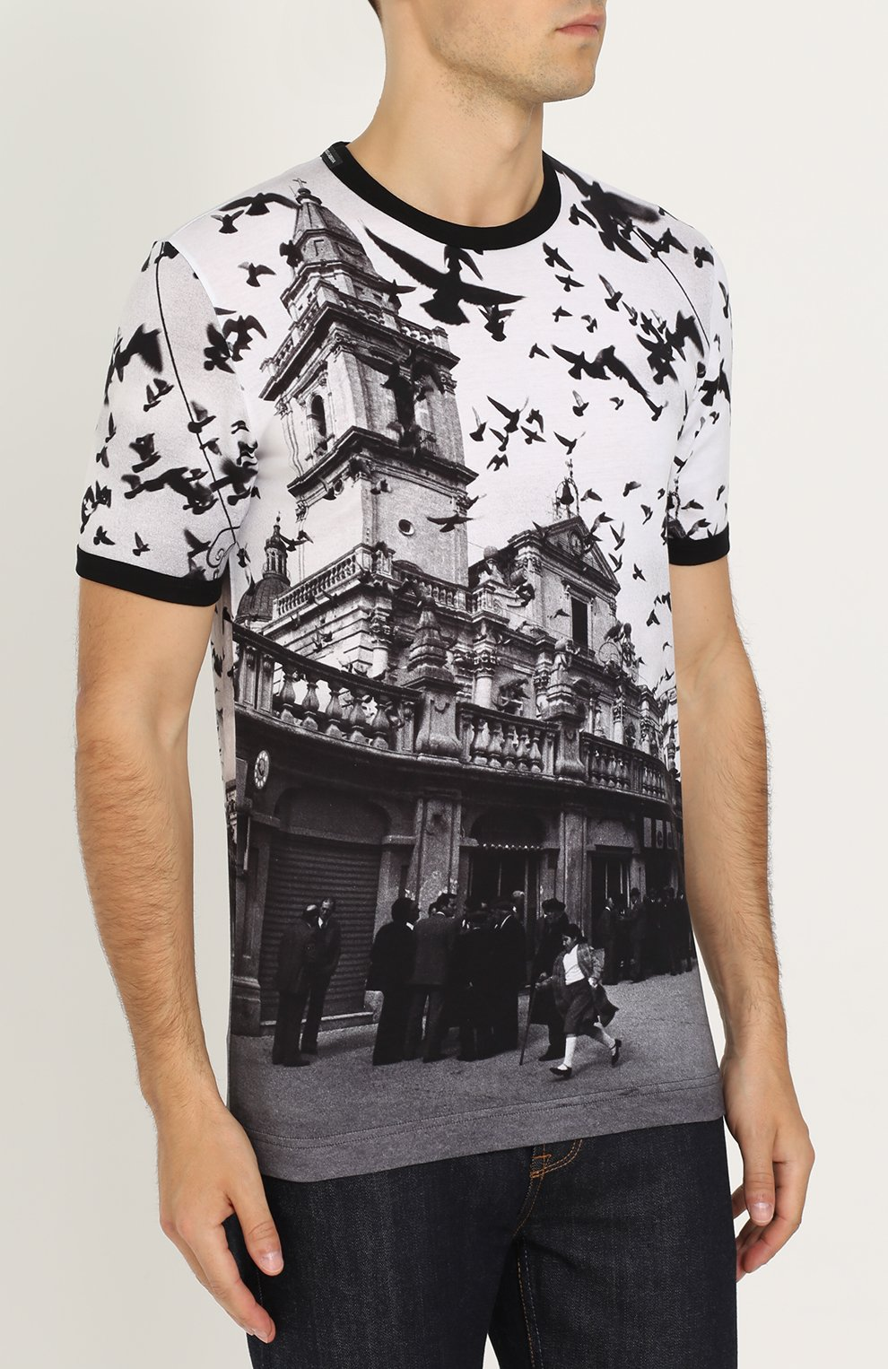 Хлопковая футболка с принтом Dolce & Gabbana черная   Фото №3