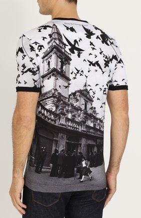 Хлопковая футболка с принтом Dolce & Gabbana черная   Фото №4