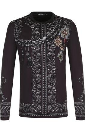 Хлопковый лонгслив с принтом Dolce & Gabbana темно-серая | Фото №1