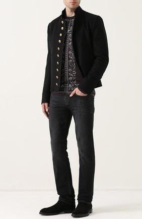 Хлопковый лонгслив с принтом Dolce & Gabbana темно-серая | Фото №2