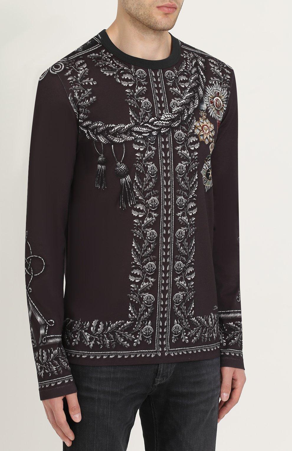 Хлопковый лонгслив с принтом Dolce & Gabbana темно-серая | Фото №3
