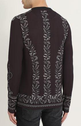 Хлопковый лонгслив с принтом Dolce & Gabbana темно-серая | Фото №4