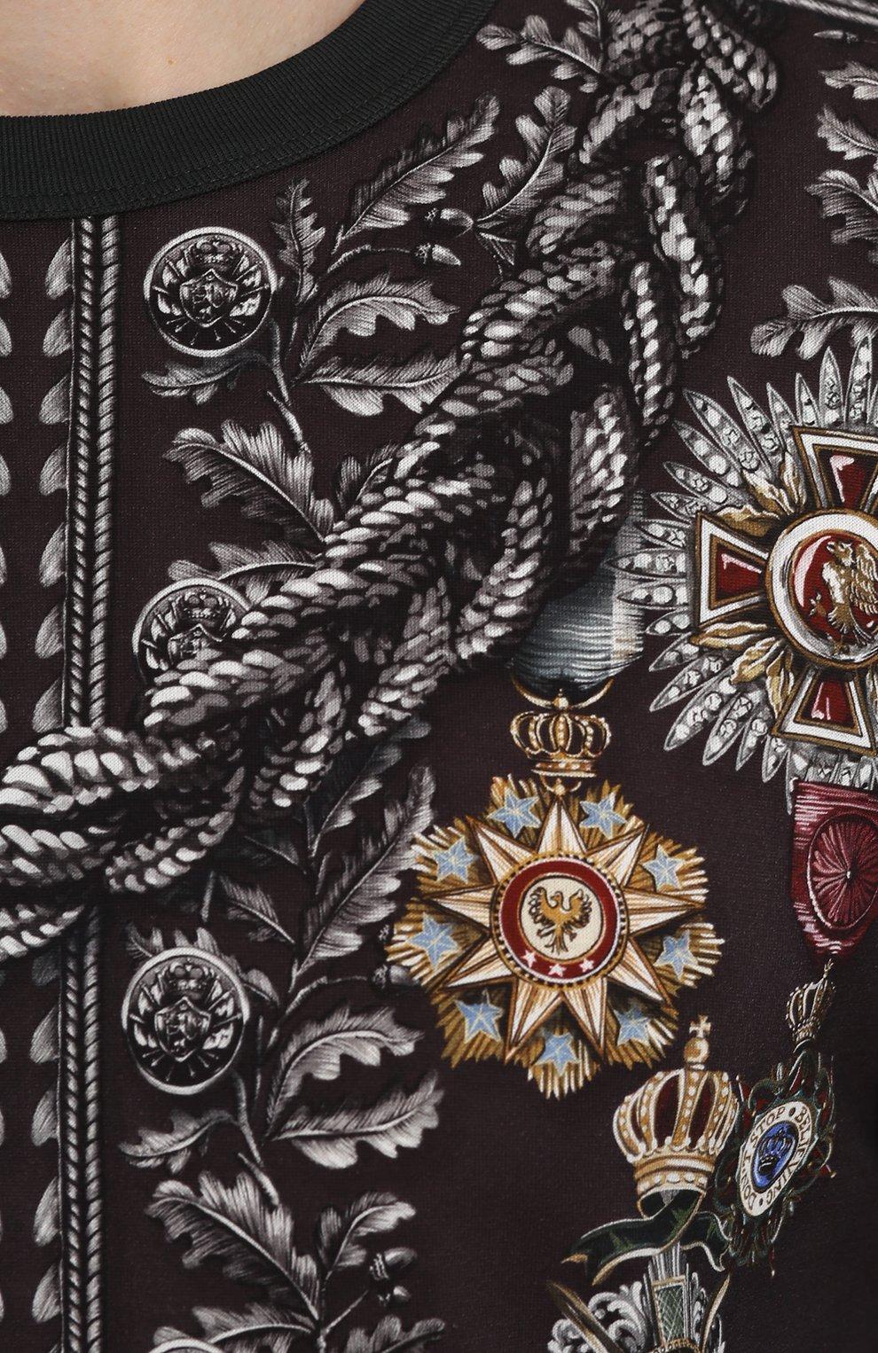 Хлопковый лонгслив с принтом Dolce & Gabbana темно-серая | Фото №5