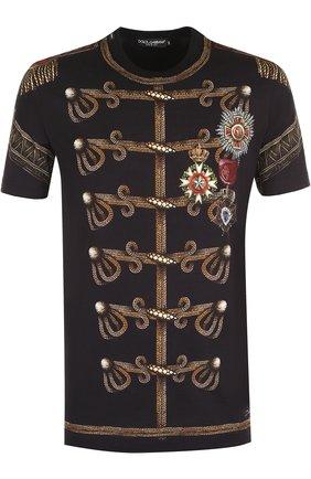 Хлопковая футболка с принтом Dolce & Gabbana черная   Фото №1