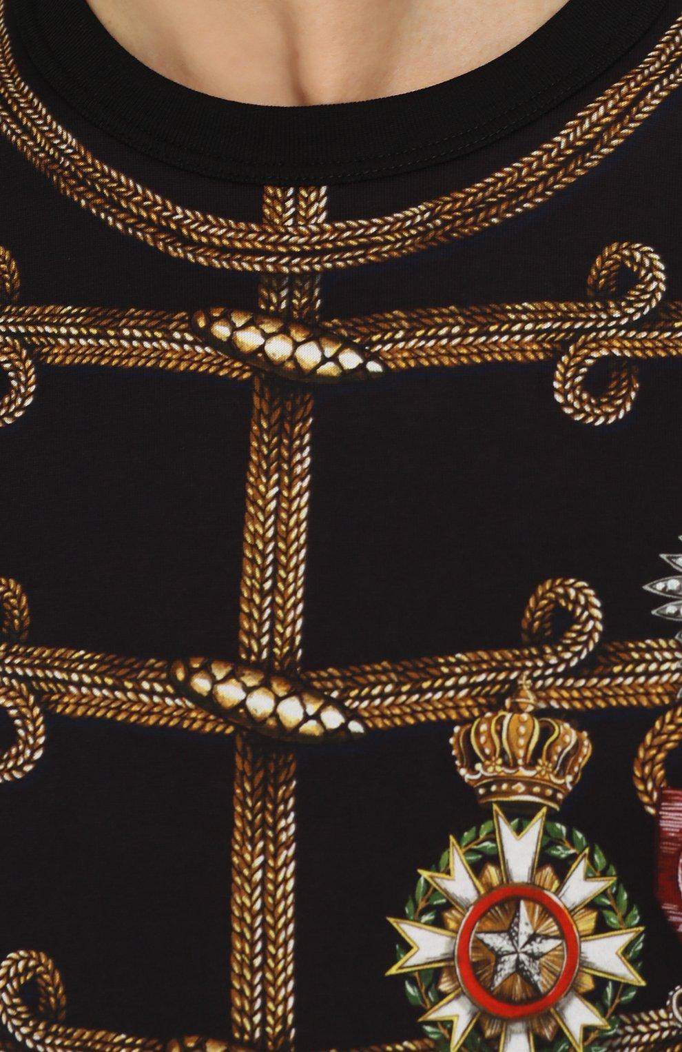 Хлопковая футболка с принтом Dolce & Gabbana черная   Фото №5
