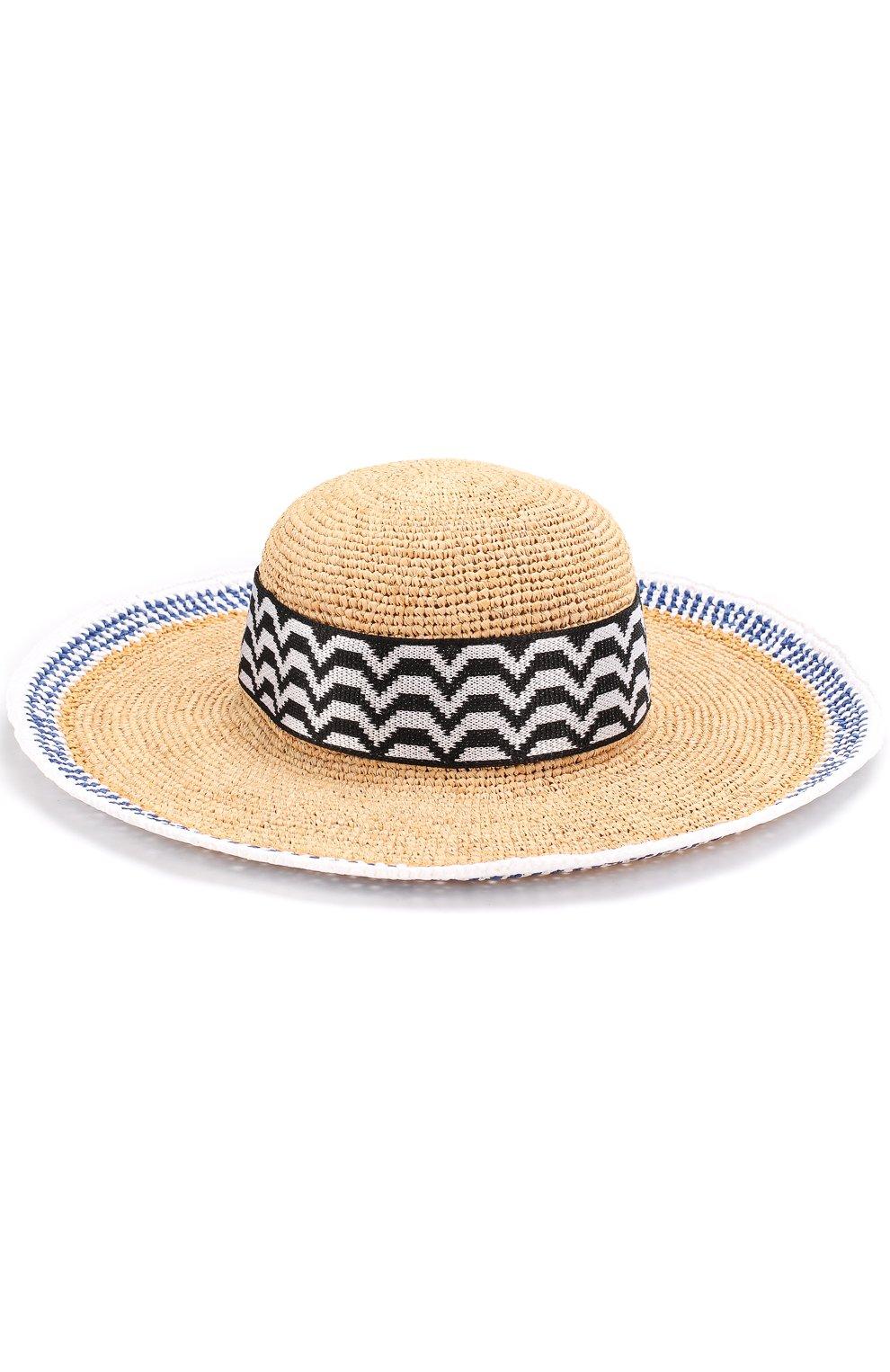 Пляжная шляпа из смеси вискозы и соломы   Фото №1