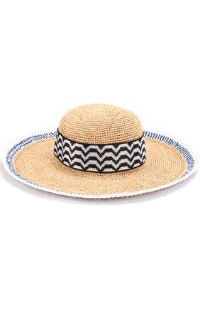 Пляжная шляпа из смеси вискозы и соломы Missoni синего цвета   Фото №1
