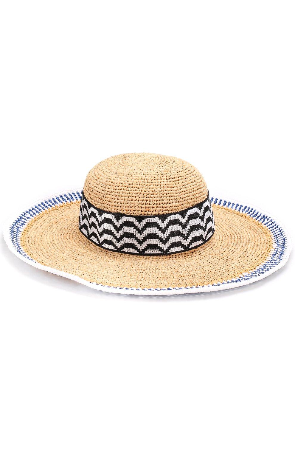 Пляжная шляпа из смеси вискозы и соломы Missoni синего цвета   Фото №2