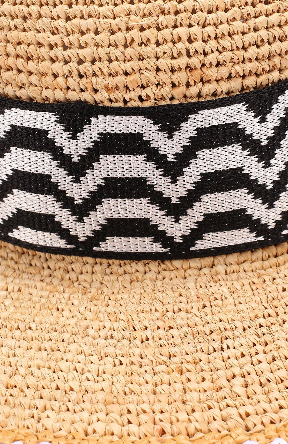Пляжная шляпа из смеси вискозы и соломы Missoni синего цвета   Фото №3