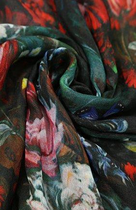 Детский шарф с цветочным принтом Jakioo черного цвета | Фото №1