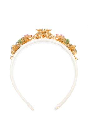 Текстильный ободок с металлическим декором Dolce & Gabbana белого цвета   Фото №1
