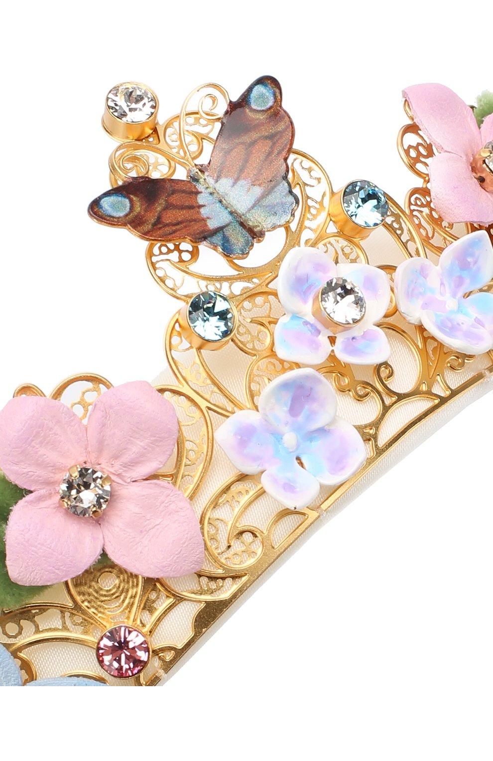 Текстильный ободок с металлическим декором Dolce & Gabbana белого цвета   Фото №2
