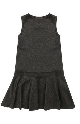 Детское мини-платье джерси с оборкой и бантом ALETTA темно-серого цвета, арт. AF777424/9A-16A | Фото 2