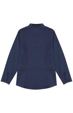 Хлопковая блуза прямого кроя с воротником-стойкой | Фото №2