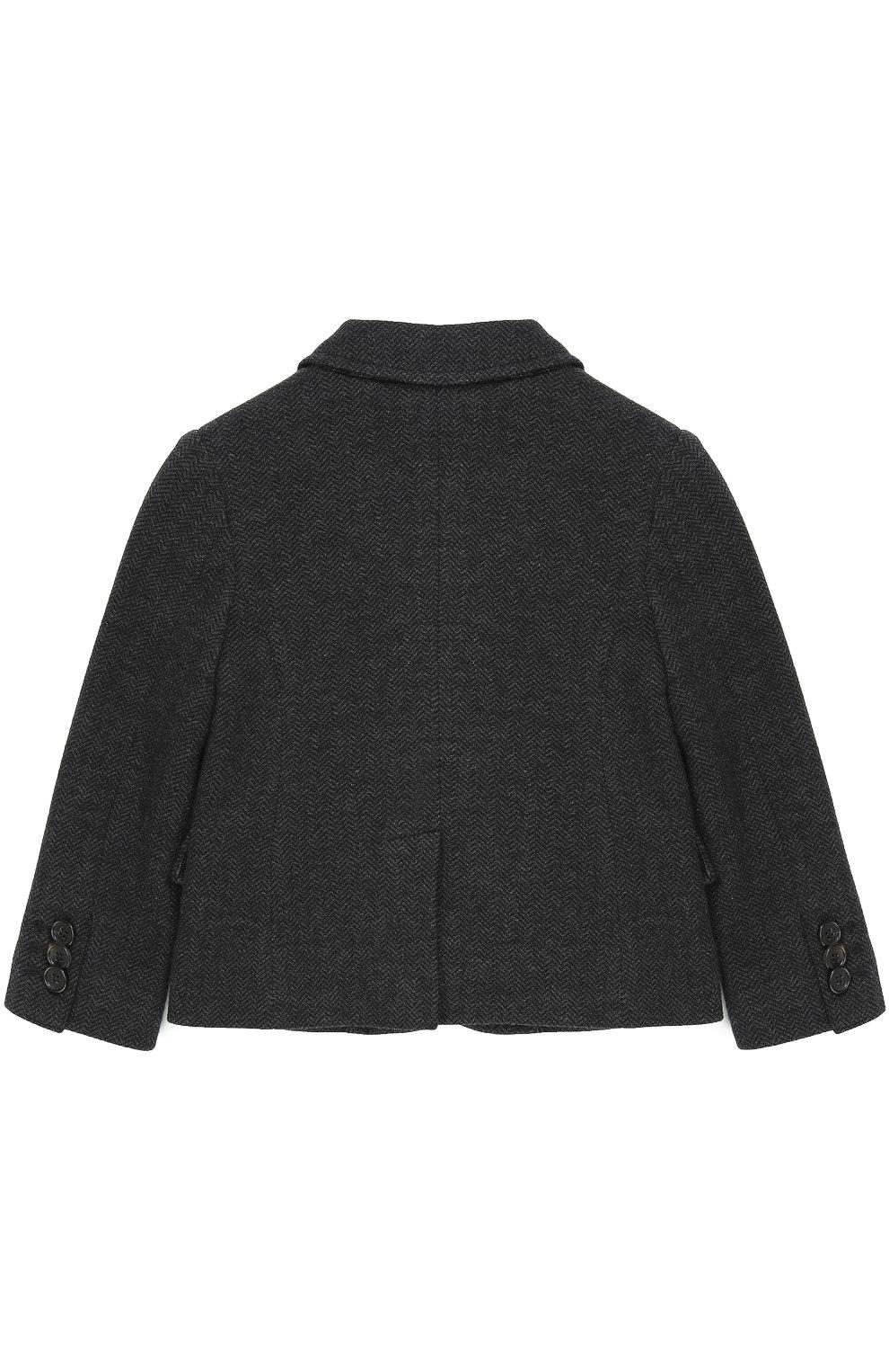 Детский хлопковый пиджак на двух пуговицах с нашивкой Dolce & Gabbana темно-серого цвета | Фото №2