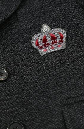 Детский хлопковый пиджак на двух пуговицах с нашивкой Dolce & Gabbana темно-серого цвета | Фото №3