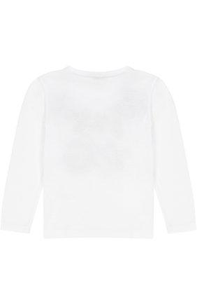 Детская хлопковый лонгслив с аппликациями и кристаллами Dolce & Gabbana белого цвета   Фото №2
