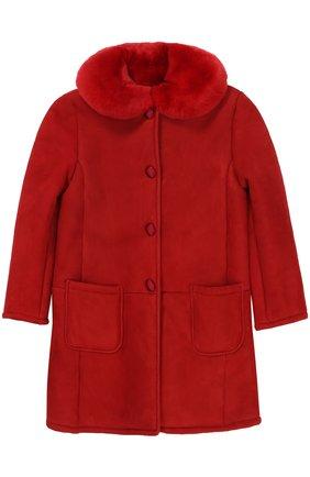 Дубленка из овчины и кролика Dolce & Gabbana красного цвета | Фото №1