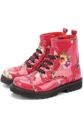 Детские ботинки из лаковой кожи с принтом Dolce & Gabbana красного цвета | Фото №1