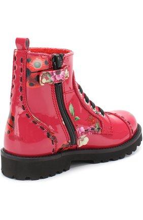 Детские ботинки из лаковой кожи с принтом Dolce & Gabbana красного цвета | Фото №3