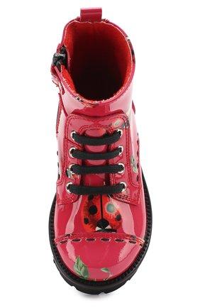 Детские ботинки из лаковой кожи с принтом Dolce & Gabbana красного цвета | Фото №4