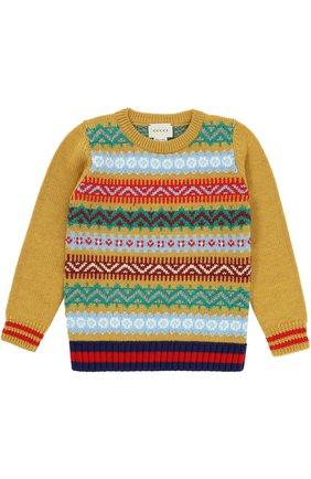 Вязаный пуловер из шерсти с принтом   Фото №1