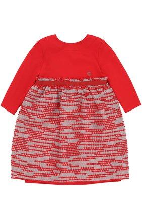 Мини-платье джерси с завышенной талией и декором на юбке | Фото №1