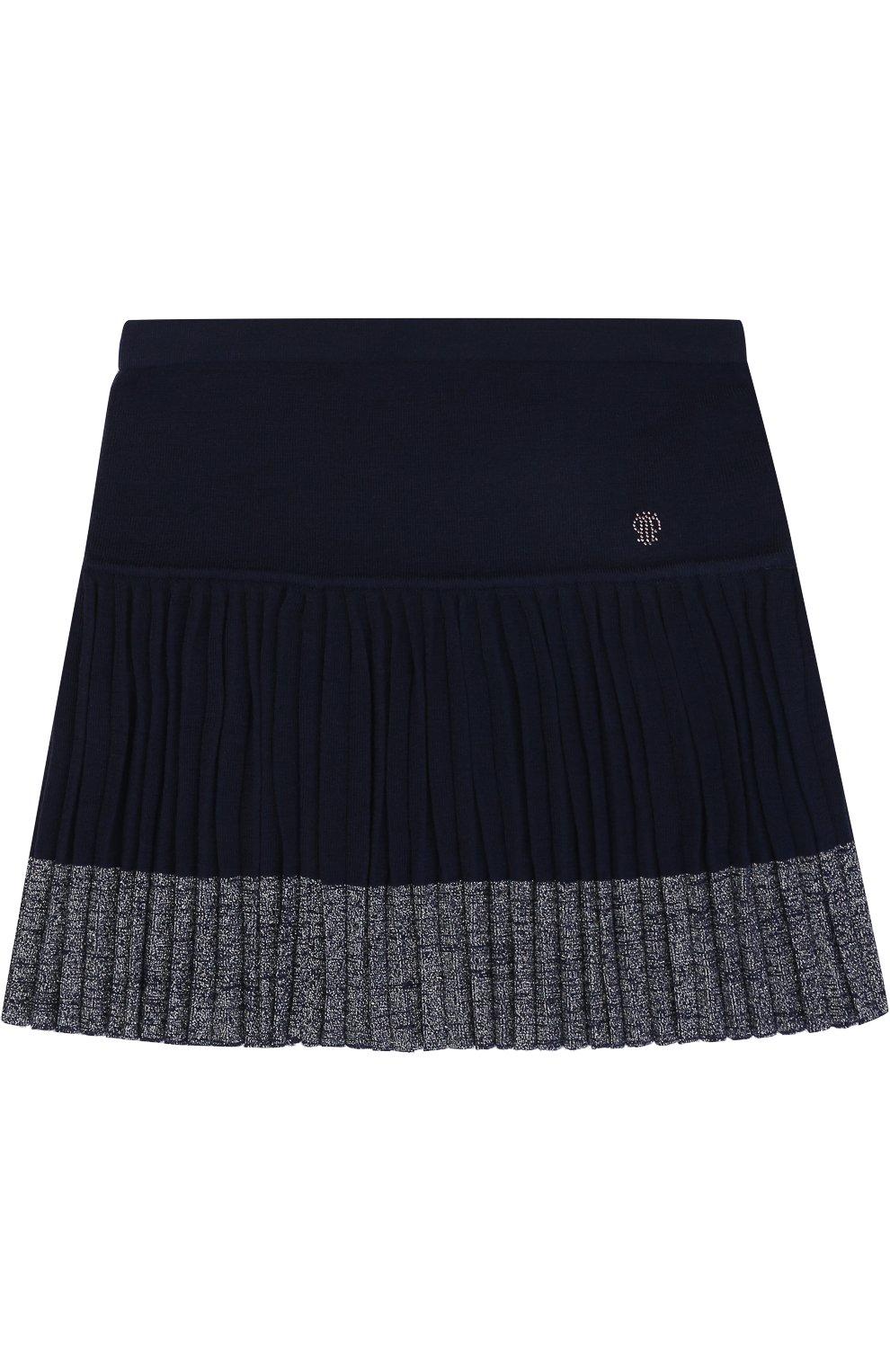 Вязаная мини-юбка с плиссированной вставкой | Фото №1