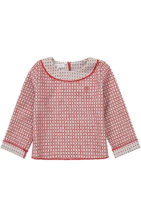 Детский вязаный топ с контрастной вышивкой I Pinco Pallino красного цвета | Фото №1