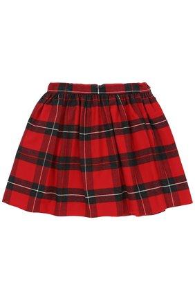 Детская хлопковая мини-юбка в клетку Dolce & Gabbana красного цвета | Фото №1