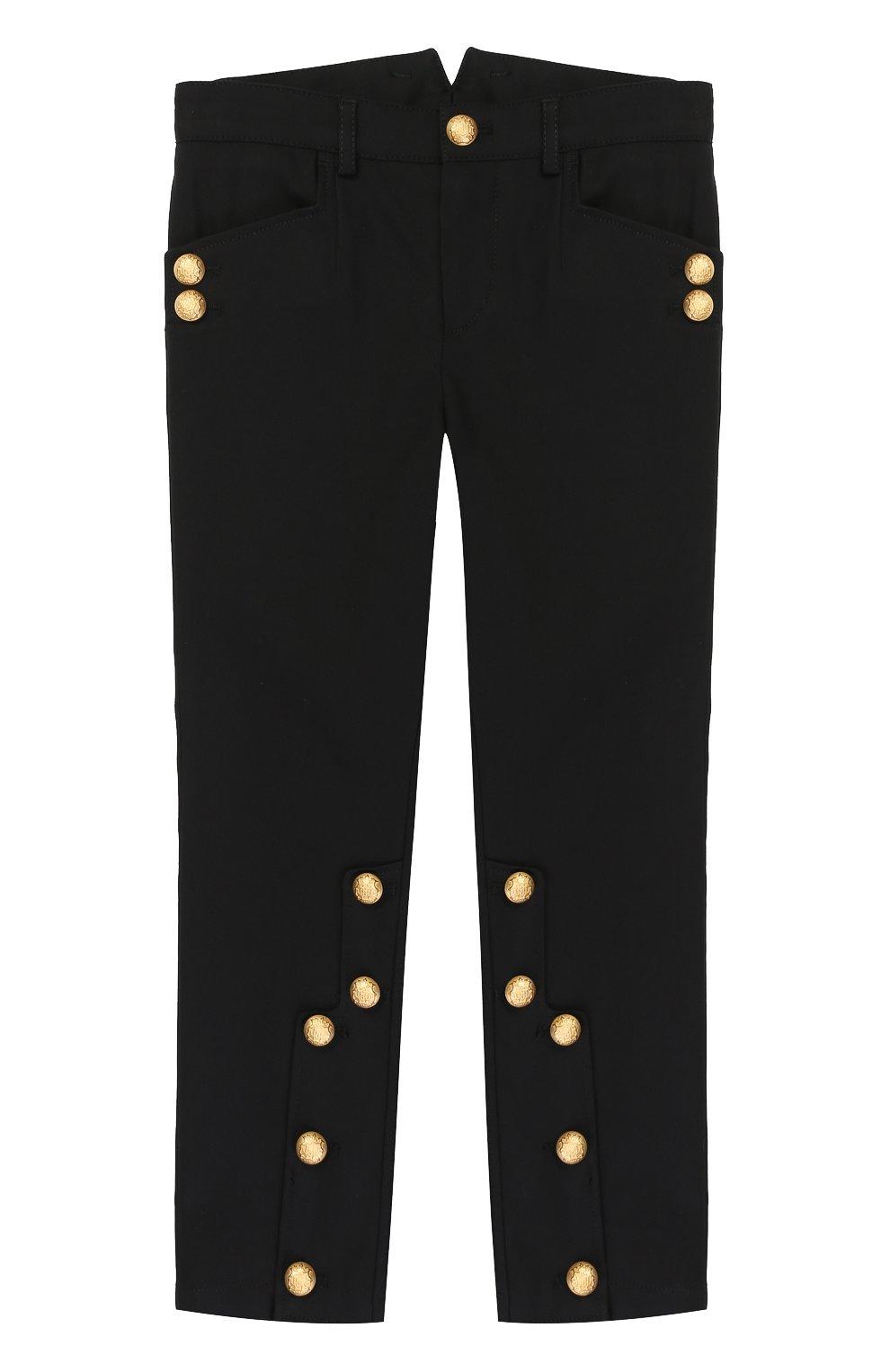 Хлопковые брюки с декоративными пуговицами   Фото №1