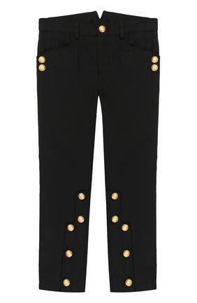 Детские хлопковые брюки с декоративными пуговицами Dolce & Gabbana черного цвета   Фото №1