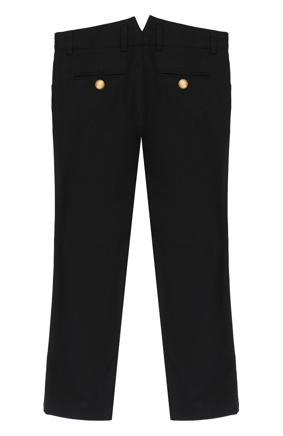 Детские хлопковые брюки с декоративными пуговицами Dolce & Gabbana черного цвета   Фото №2