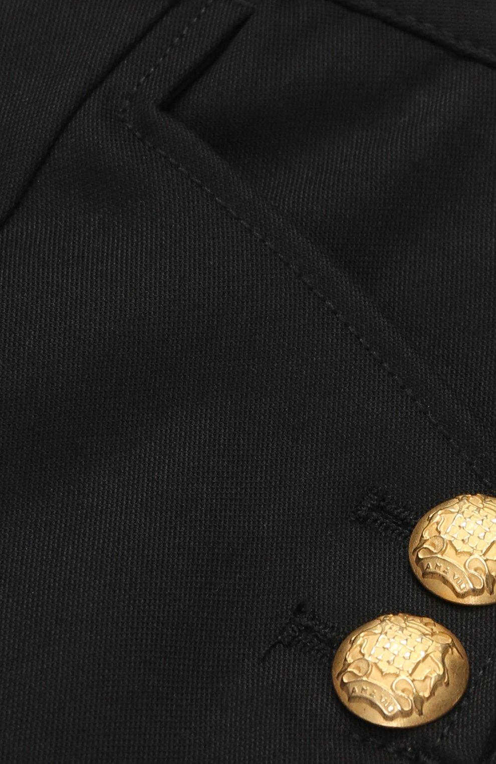 Детские хлопковые брюки с декоративными пуговицами Dolce & Gabbana черного цвета   Фото №3