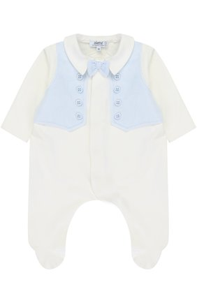 Хлопковая пижама с контрастной отделкой и декоративным галстуком-бабочкой | Фото №1