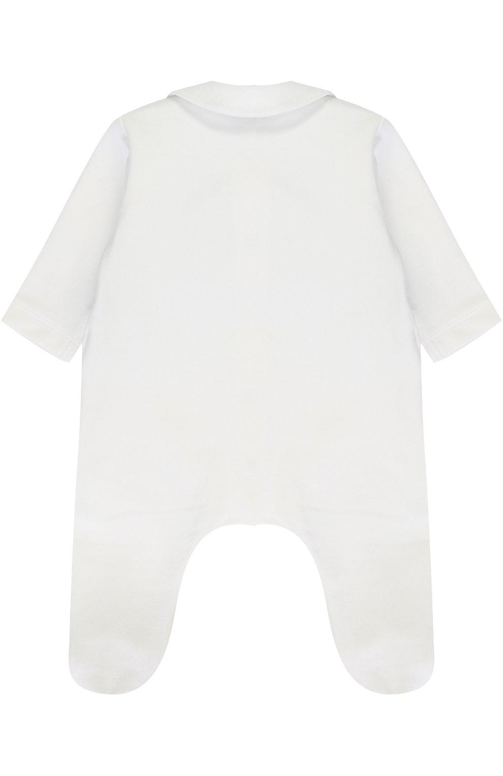 Детский хлопковая пижама с контрастной отделкой и декоративным галстуком-бабочкой ALETTA белого цвета, арт. RM777042FL/1M-18M   Фото 2