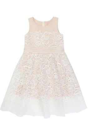 Платье-макси с кружевной отделкой и бантом на поясе | Фото №1