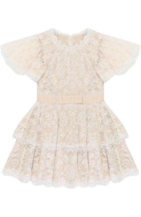 Детское кружевное мини-платье с поясом Tadashi Shoji Kids розового цвета | Фото №1