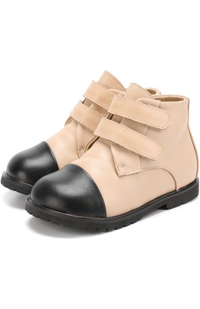 Кожаные ботинки с застежками велькро   Фото №1