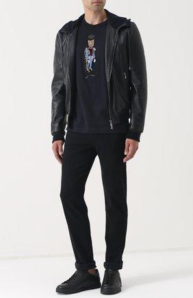 Кожаная куртка с капюшоном Dolce & Gabbana синяя | Фото №2