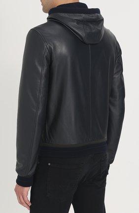 Кожаная куртка с капюшоном Dolce & Gabbana синяя | Фото №4
