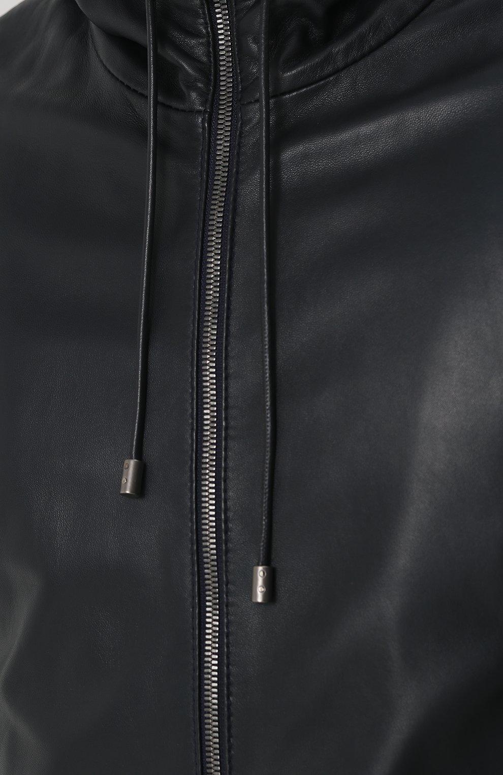 Кожаная куртка с капюшоном Dolce & Gabbana синяя | Фото №5
