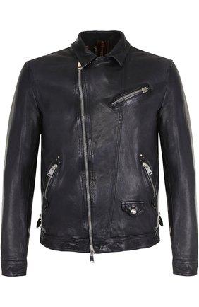 Кожаная куртка с косой молнией