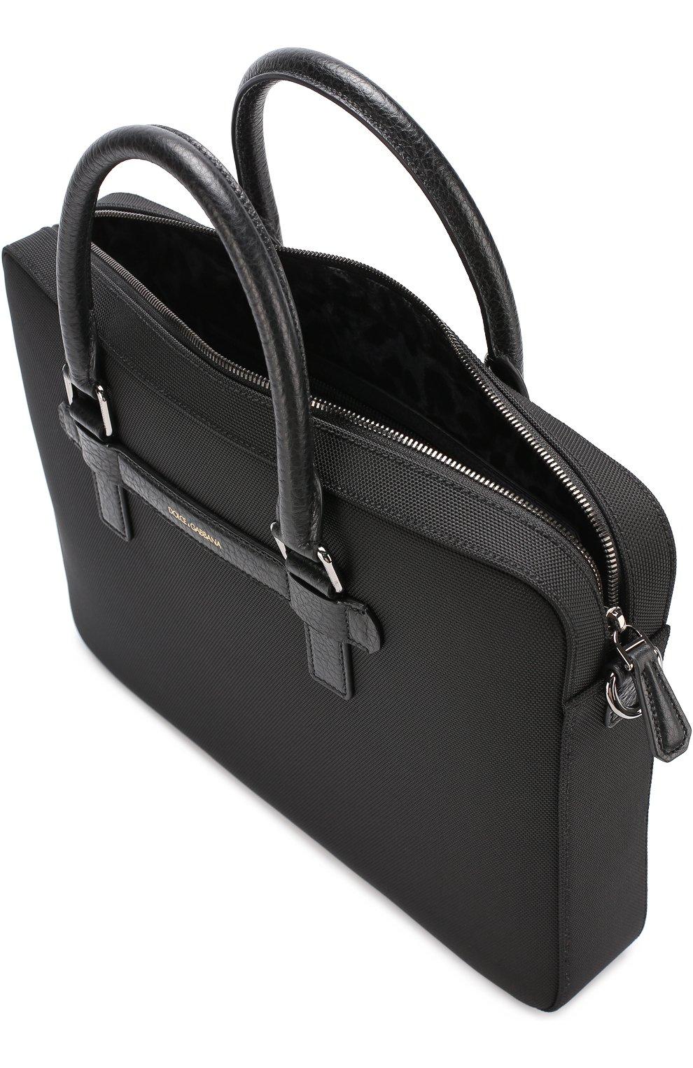 Сумка для ноутбука Mediterraneo с плечевым ремнем Dolce & Gabbana черная | Фото №4