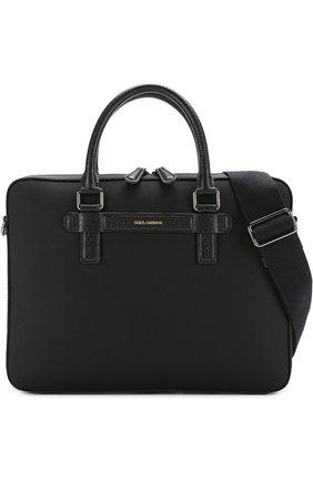 Сумка для ноутбука Mediterraneo с плечевым ремнем Dolce & Gabbana черная | Фото №6
