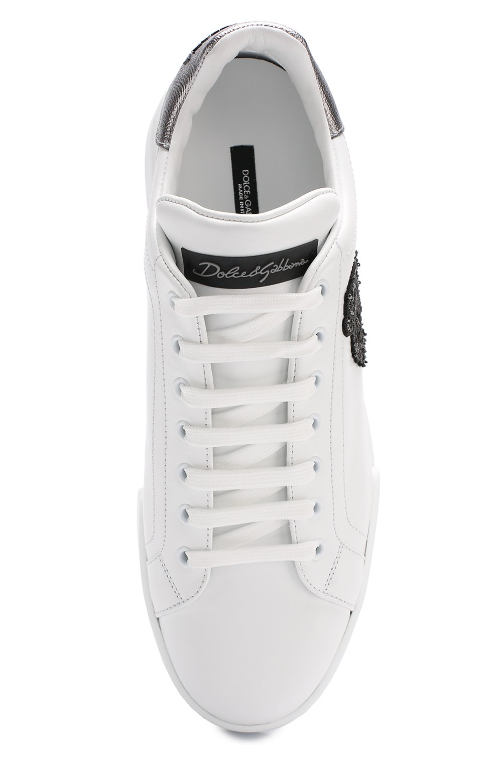 Кожаные кеды Portofino с аппликацией Dolce & Gabbana белые   Фото №5